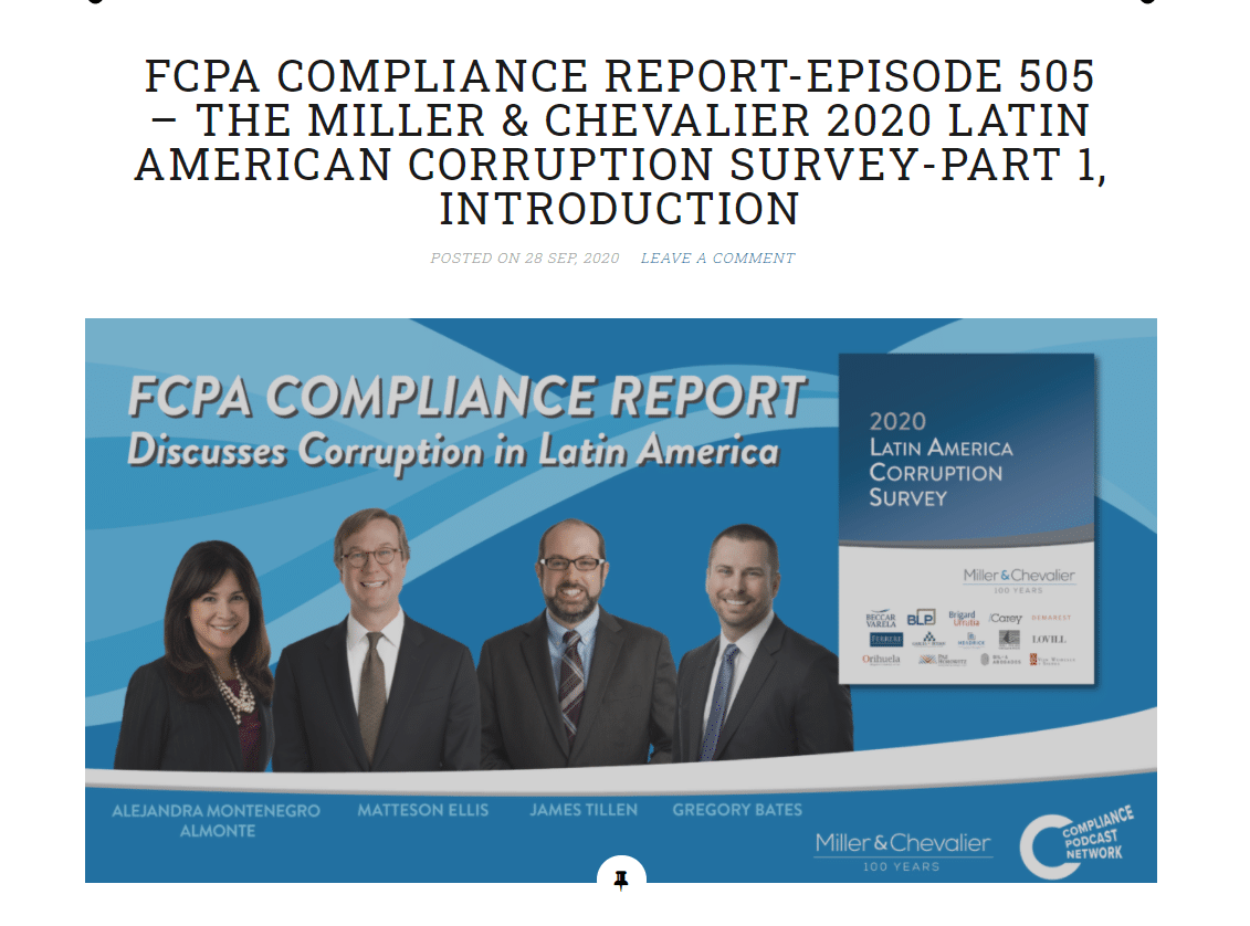 FCPA COMPLIANCE REPORT-EPISODE 505 – The Miller & Chevalier 2020 latin american corruption survey – part 1, introduction