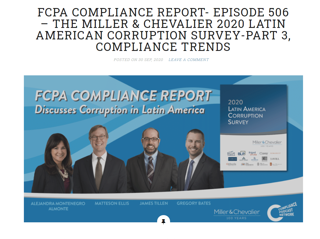 FCPA COMPLIANCE REPORT- EPISODE 506 – THE MILLER & CHEVALIER 2020 LATIN AMERICAN CORRUPTION SURVEY-PART 3, COMPLIANCE TRENDS
