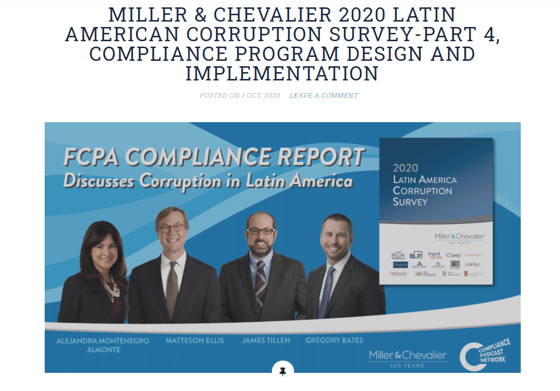 FCPA COMPLIANCE REPORT – THE MILLER & CHEVALIER 2020 LATIN AMERICAN CORRUPTION SURVEY-PART 4, COMPLIANCE PROGRAM DESIGN AND IMPLEMENTATION
