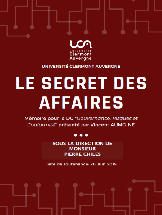 Le secret des affaires – Mémoire de Vincent Aumoine