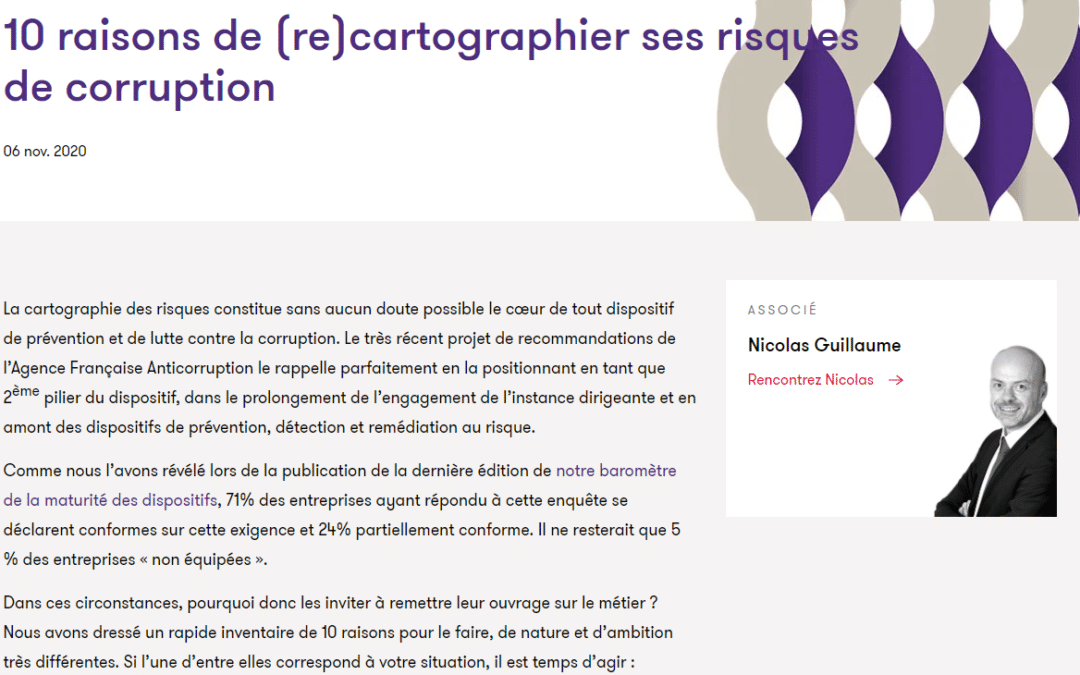 10 raisons de (re)cartographier ses risques de corruption