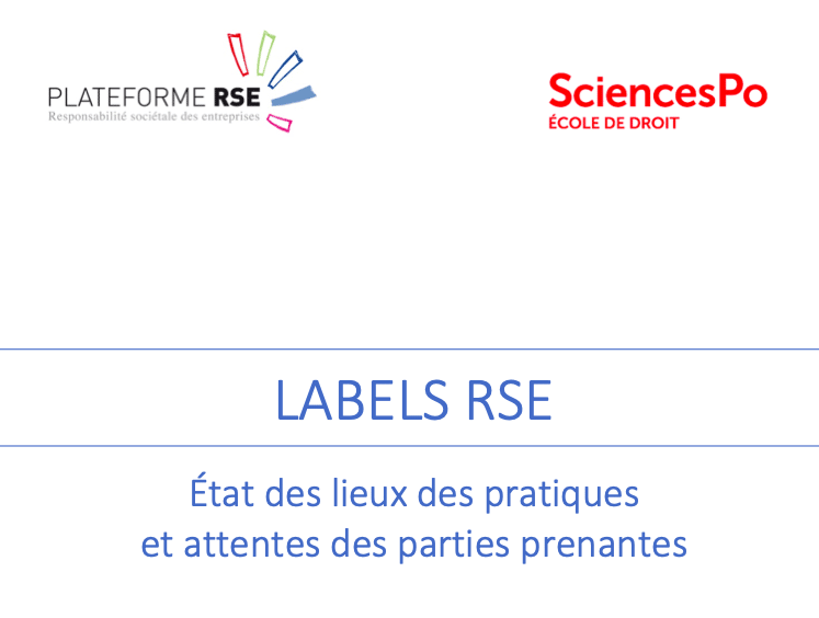 France Strategie : Groupe de travail « Labels RSE » de la Plateforme RSE