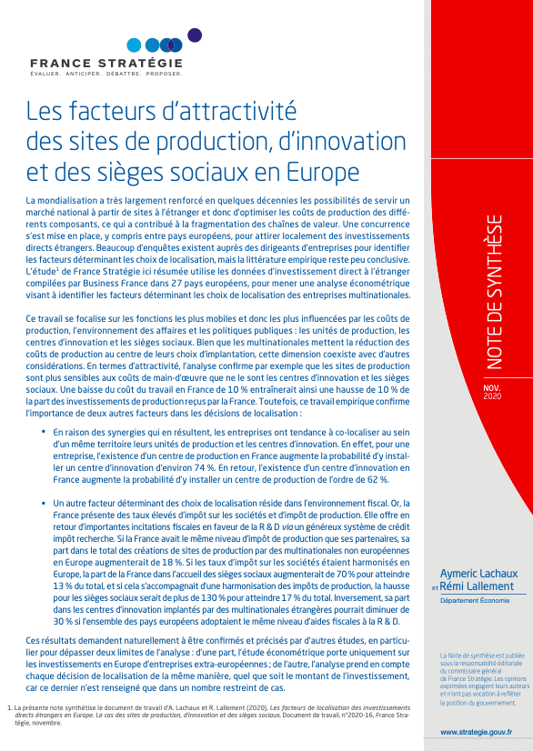 France Strategie: The localization factors of foreign direct investments in Europe