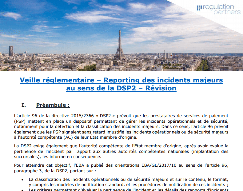 Reporting des incidents majeurs au sens de la DSP2 / Regulation Partners