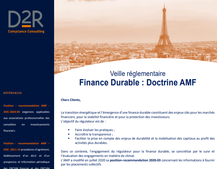 Finance Durable : Doctrine AMF / D2R Conseil