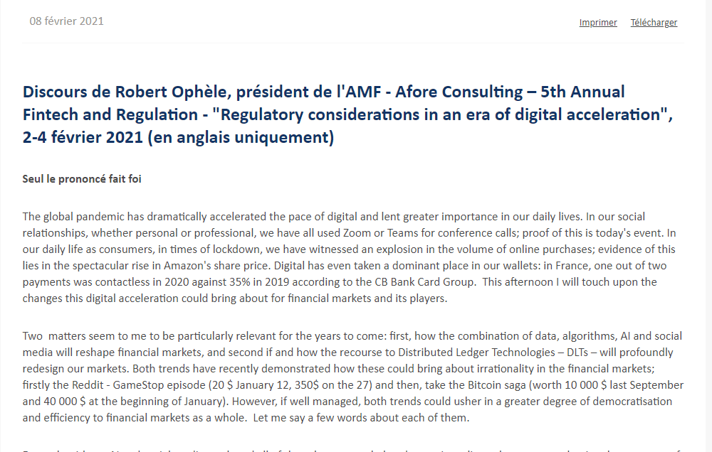Discours de Robert Ophèle, président de l'AMF – Afore Consulting – 5th Annual Fintech and Regulation – « Regulatory considerations in an era of digital acceleration »